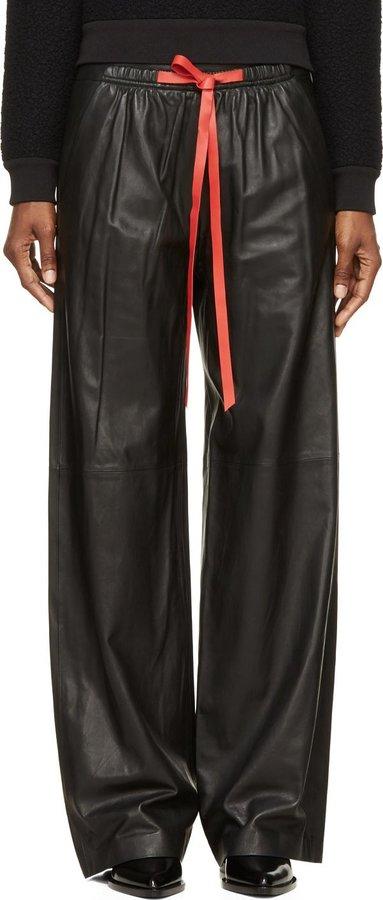 detailed look detailed images 2019 best $1,895, Alexander Wang Black Leather Wide Leg Contrast Drawstring Pants