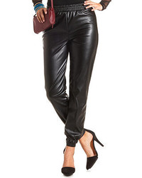 Charlotte Russe High Waisted Faux Leather Jogger Pants