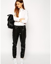 Asos Leather Look Joggers Black