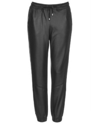 Topshop Leather Look Joggers With Seam Detailing At The Knee And Cuffed Ankles 94% Polyester 6% Elastane Machine Washable