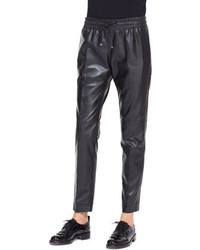 Valentino Leather Track Pants With Drawstring Black