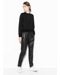 Mango Straight Fit Leather Trousers