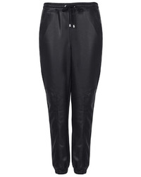 Topshop Super Soft Leather Look Seam Detail Joggers 94% Polyester 6% Elastane Hand Wash Only