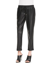 Sw3 Bespoke Amy Perforated Faux Leather Drawstring Pants Black