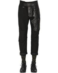 Haider Ackermann Slim Cotton Leather Biker Pants