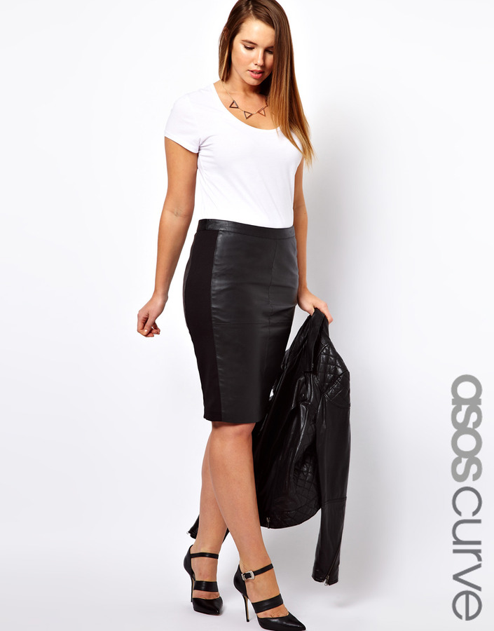 black leather pencil skirt asos curve curve leather