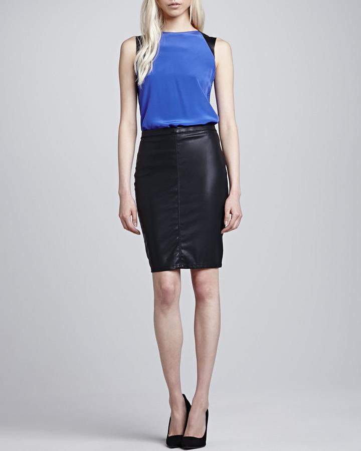 black leather pencil skirt blank vegan leather pencil