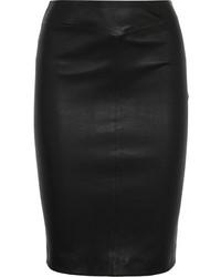 Joseph Claire Leather Pencil Skirt Black