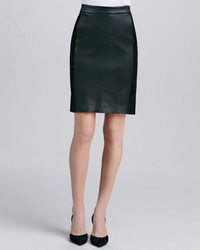 Contrast leathersuede skirt black medium 232983