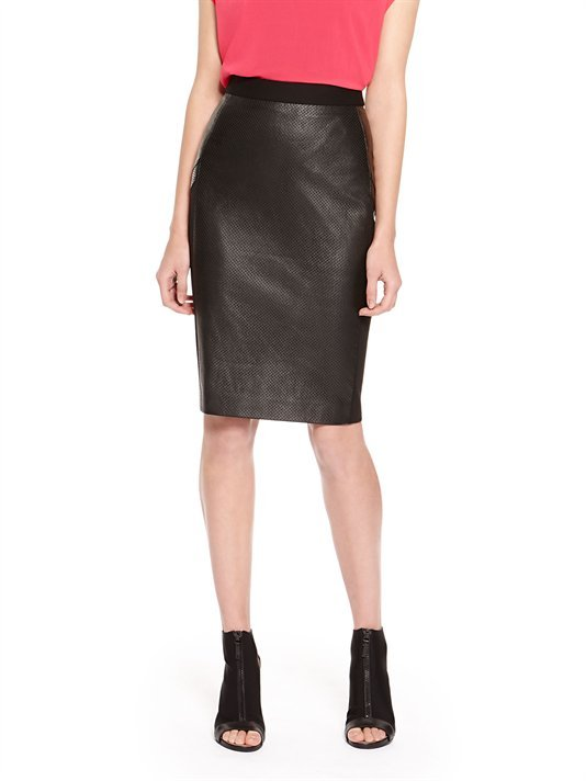 black leather pencil skirt dkny perforated leather pencil