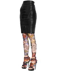 Dsquared2 Nappa Leather Bandage Pencil Skirt