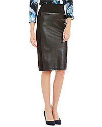 Calvin Klein Faux Leather Ponte Knit Pencil Skirt