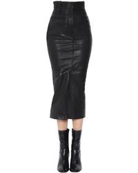 Haider Ackermann High Waist Leather Pencil Skirt