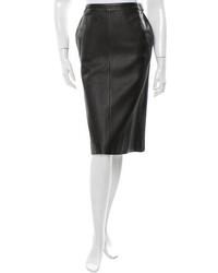 Hermes Herms Leather Knee Length Skirt