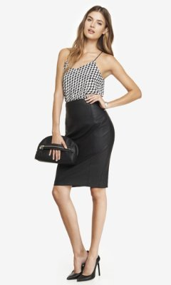 Express High Waist Leather Midi Pencil Skirt | Where to buy & how ...