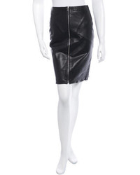 Sandro Knee Length Leather Skirt