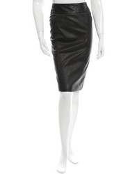 Burberry Leather Knee Length Skirt