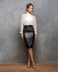 Bailey 44 Leather Like Pencil Skirt | Where to buy & how to wear