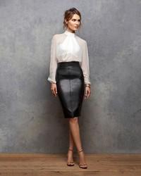 1e8997f3f4 Bailey 44 Leather Like Pencil Skirt, $328 | Intermix | Lookastic.com