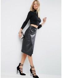 Asos Leather Look Wrap Pencil Skirt With Deep Waistband