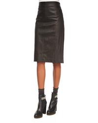 Brunello Cucinelli Leather Pencil Skirt Black