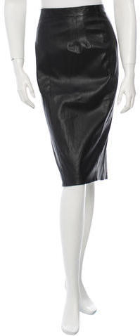 a9e5e34731 Prada Leather Pencil Skirt, $265 | TheRealReal | Lookastic.com