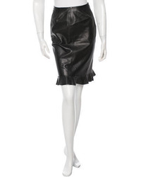 Prada Leather Ruffle Paneled Skirt