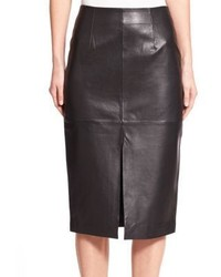 Nicholas Leather Slit Pencil Skirt