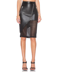 Michelle Mason Leather Skirt With Sheer Inset