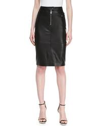 Michael Kors Michl Kors Calfskin Leather Zipper Pencil Skirt Black