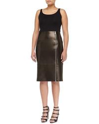 Michael Kors Michl Kors Paneled Zip Leather Pencil Skirt Black