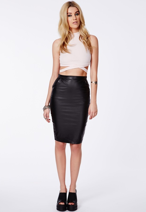missguided mariota black faux leather pencil skirt where