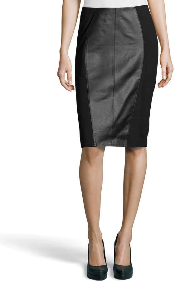 black leather pencil skirt neiman leather inset