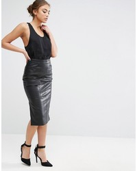 Asos Pencil Skirt In Leather Look With Pocket Detail