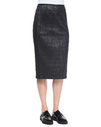 Plisse pleated leather pencil skirt medium 352359