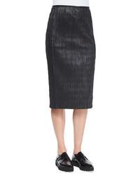 Edun Plisse Pleated Leather Pencil Skirt