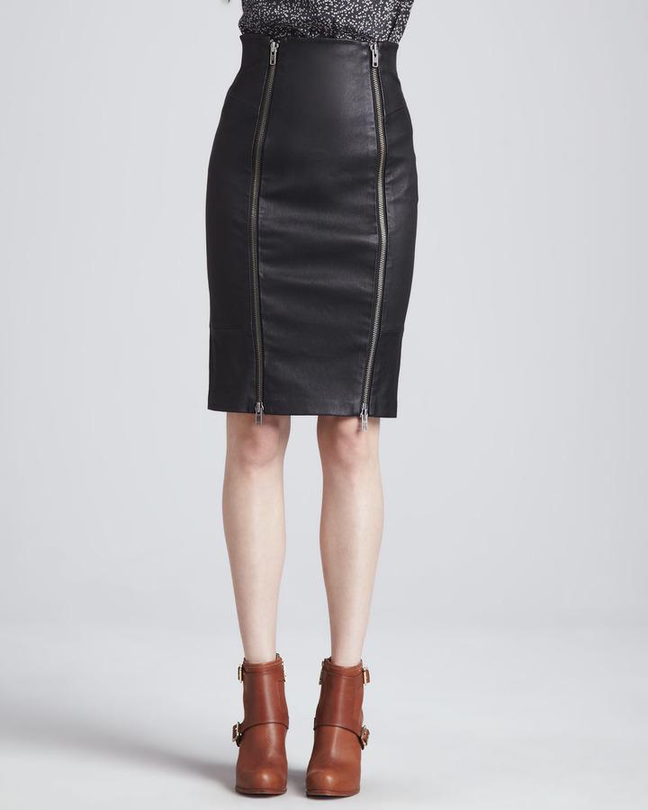 black leather pencil skirt zoe brie stretch