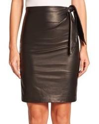 Diane von Furstenberg Roxanne Leather Knit Pencil Skirt