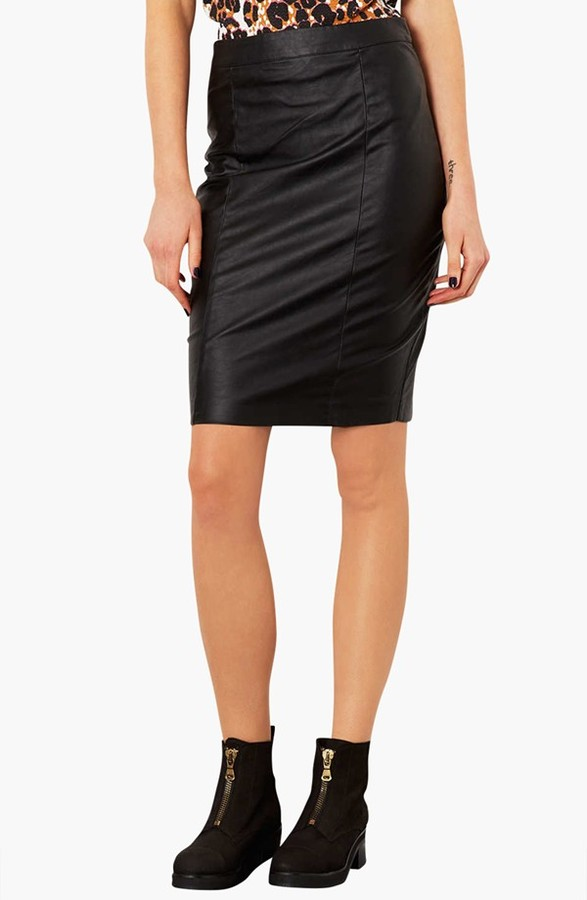 topshop faux leather pencil skirt where to buy how to wear
