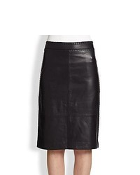Tory Burch Marion Leather Pencil Skirt Navy