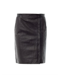 Vince Snake Embossed Leather Skirt