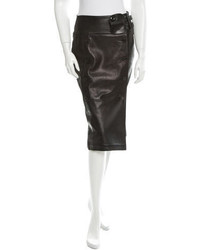 Saint Laurent Yves Leather Pencil Skirt