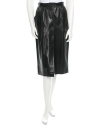 Saint Laurent Yves Vintage Leather Midi Skirt
