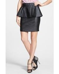 Glamorous Faux Leather Peplum Skirt Black Large