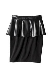 *unlisted (no company info) Mossimo Pencil Skirt W Faux Leather Peplum Black 2
