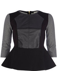River Island Black Leather Look Front Peplum Top