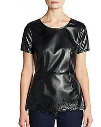 Faux leather laser cut peplum top medium 90704