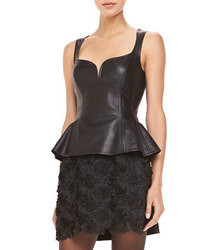 Nanette Lepore Leather Sleeveless Peplum Top