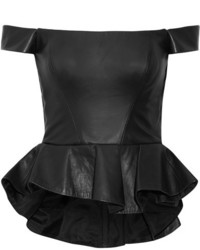 Reem acra off the shoulder leather peplum top black medium 6860664