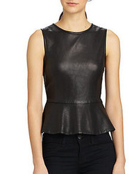 Theory elleria ford leather peplum top medium 90700